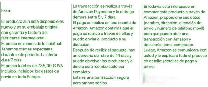 Intento de estafa en Amazon