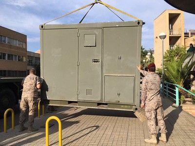 El Ejército del Aire instala módulos de triaje y de hospitalización temporal en Zaragoza