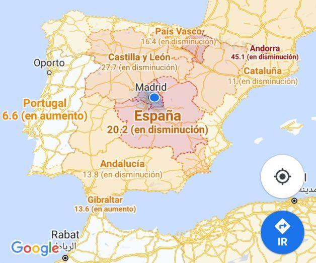 Google Maps muestra la incidencia de la Covid-19 en la región donde vives