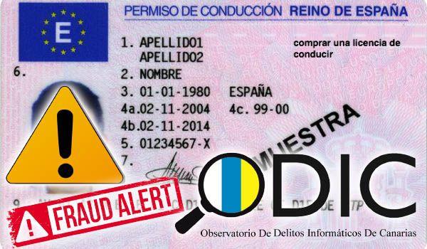 Carnet de conducir falso, alerta de ODIC