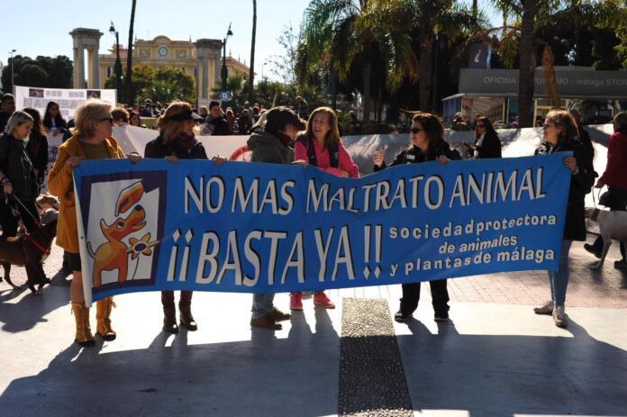 Carmen Manzano en una manifestación en Málaga contra el maltrato animal