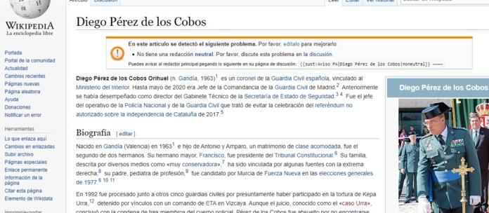 Los datos falsos en la Wikipedia de Diego Pérez de los Cobos
