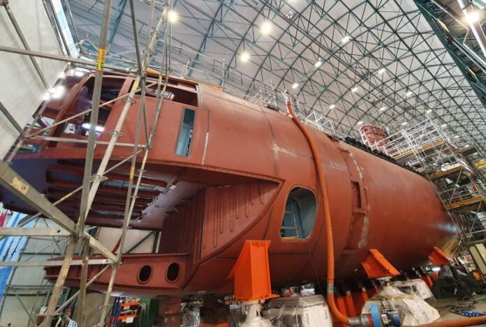 Todo a punto para la puesta a flote del primer submarino de la clase S-80 en Cartagena