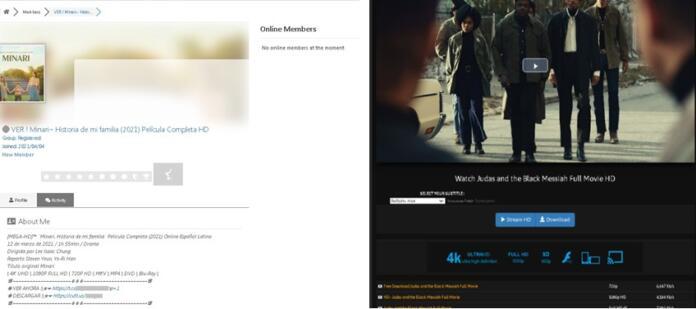 Ejemplo de sitios web de phishing que ofrecen el streaming de 'Minari' y de 'Judas y el mesías negro' - Kaspersky