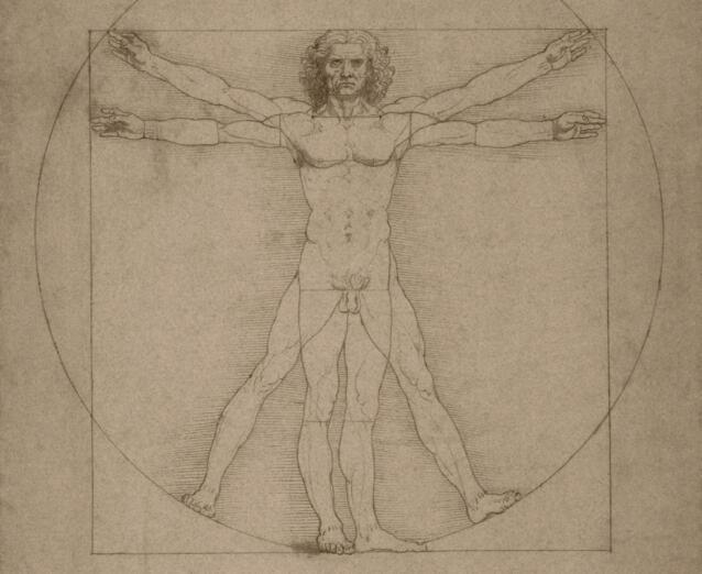 El hombre de Vitruvio de Leonardo da Vinci, hacia 1490. © Album / John Parrot/Stocktrek Images.