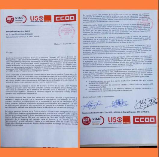 La carta de Orange dirigida al embajador de Francia por los trabajadores españoles ante el ERE que plantea realizar la multinacional