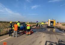 Accidente de tráfico ocurrido el 12 de octubre de 2021 en el kilómetro 14 de la CM-3005 de la provincia de Toledo. Imagen del Consorcio Provincial de Extinción de Incendios y Salvamentos de Toledo