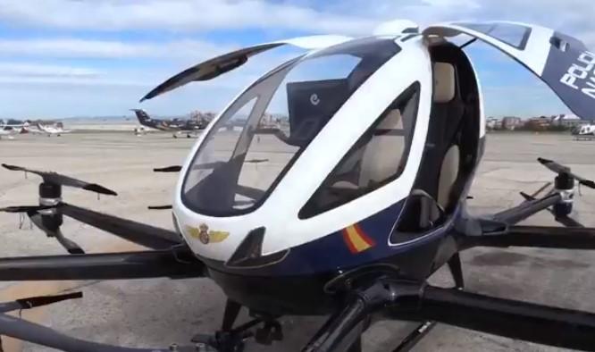 El nuevo dron de la Policía Nacional, el eHang 216 AAV fabricado por la empresa china Ehang